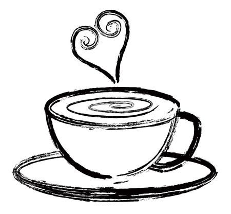 tea cup: Cup of Coffee Latte Espresso with Love Abstract Black Ink Brush Isolated on White Background Illustration Illustration