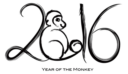2016 Chinese New Year of the Monkey with Peach Black Ink Brush Strokes Calligraphy on White Background Illustration Illustration