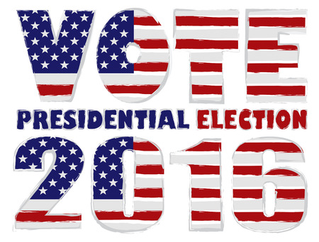 presidential: Vote 2016 Presidential Election with American USA Flag Grunge Silhouette Illustration