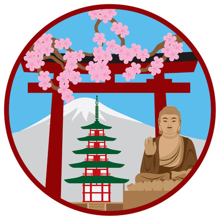 snowcapped mountain: Japan Pagoda Torii Gate Zen Buddha Collage in Circle Color Illustration