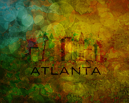 Atlanta Georgia City Skyline with Paint Splatter Abstract onn Grunge Texture Background Color Illustration
