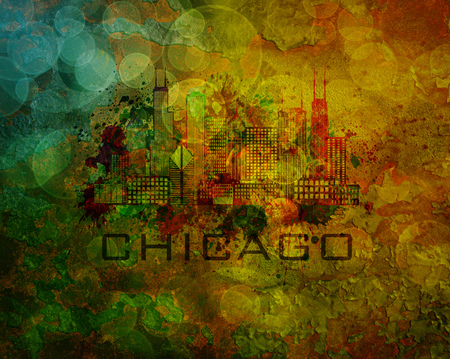 windy city: Chicago City Skyline Panorama Color Outline Silhouette with Paint Splatter on Grunge Texture Background Illustration