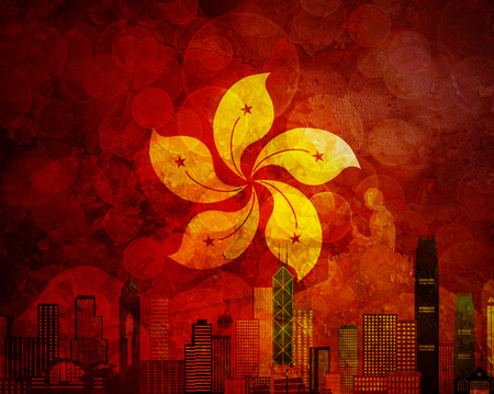 buddha statue: Hong Kong City Skyline and Big Buddha Statue Panorama in Hong Kong Flag Grunge Texture Background Color Illustration