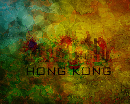 hong kong harbour: Hong Kong City Skyline with Paint Splatter Abstract onn Grunge Texture Background Color Illustration Stock Photo