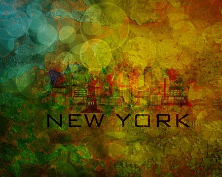 new york city skyline: New York City Skyline with Paint Splatter Abstract onn Grunge Texture Background Color Illustration
