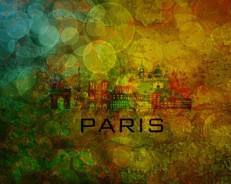 montmartre: Paris France City Skyline with Paint Splatter Abstract onn Grunge Texture Background Color Illustration