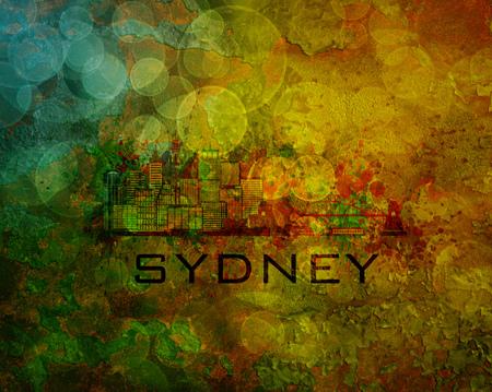 ferry boat: Sydney Australia City Skyline with Paint Splatter Abstract onn Grunge Texture Background Color Illustration Stock Photo