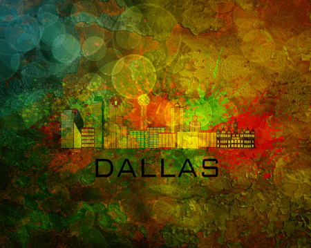 tx: Dallas Texas City Skyline with Paint Splatter Abstract on Grunge Texture Background Color Illustration