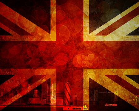 grunge union jack: London Great Britain City Skyline Panorama in Union Jack Flag Grunge Texture Background Color Illustration