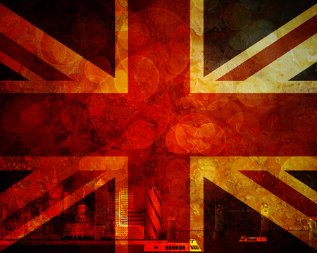 London Great Britain City Skyline Panorama in Union Jack Flag Grunge Texture Background Color Illustration
