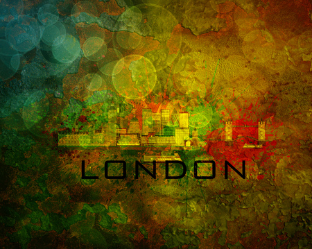 London Great Britain City Skyline with Paint Splatter Abstract on Grunge Texture Background Color Illustration Stock Photo