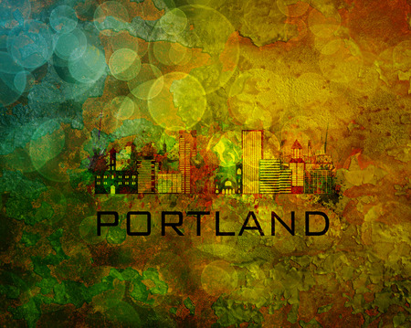 portland: Portland Oregon City Skyline with Paint Splatter Abstract onn Grunge Texture Background Color Illustration