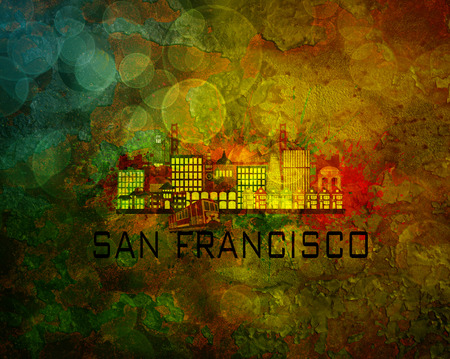 sf: San Francisco California City Skyline with Paint Splatter Abstract on Grunge Texture Background Color Illustration
