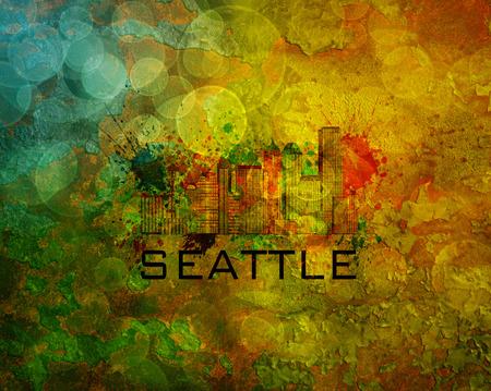 Seattle Washington City Skyline with Paint Splatter Abstract on Grunge Texture Background Color Illustration