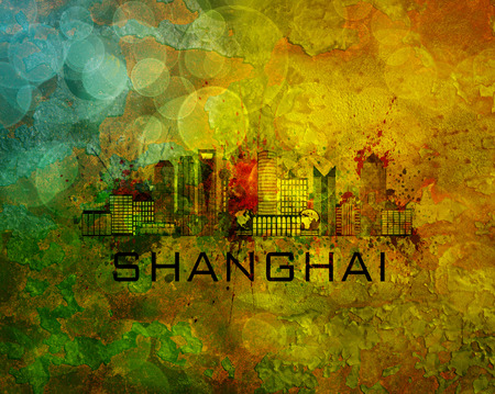 world trade center: Shanghai China City Skyline with Paint Splatter Abstract on Grunge Texture Background Color Illustration