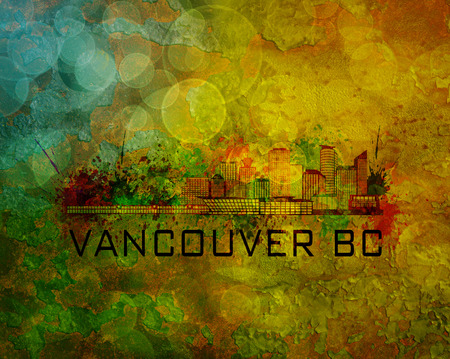 bc: Vancouver British Columbia City Skyline with Paint Splatter Abstract on Grunge Texture Background Color Illustration Stock Photo