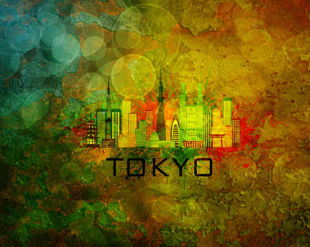 abstract city: Tokyo Japan City Skyline with Paint Splatter Abstract on Grunge Texture Background Color Illustration Stock Photo