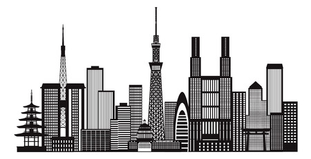 Tokyo Japan City Skyline Panorama Black and White Silhouette Outline Illustration