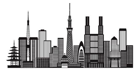 Tokyo Japan Horizon van de Stad Panorama van zwarte en witte silhouet schets illustratie Vector Illustratie