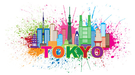 Tokyo Japan City Skyline Panorama Paint Splash Splatter Silhouette Color Illustration Ilustrace