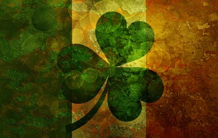 ireland flag: Ireland Flag with Shamrock on Grunge Texture Background Illustration