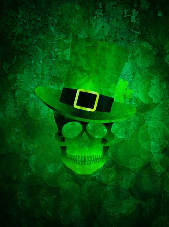 jaws: St Patricks Day Green Irish Skull with Leprechaun Hat Illustration on Grunge Texture Background Stock Photo