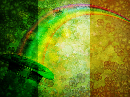 St Patricks Day Four Leaf Clover Shamrock Leprechaun Hat Gold Coins Rainbow with Grunge Texture Irish Flag Background