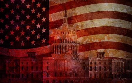 senate: Washington DC US Capitol Building with US American Flag Grunge Texture Background Illustration Stock Photo