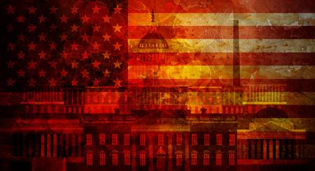 president of the usa: Washington DC Capitol White House USA Flag Silhouette with Grunge Texture Background Illustration