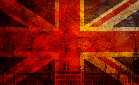 palace of westminster: Westminster Palace Big Ben Union Jack Great Britain Flag with Grunge Texture Background Illustration