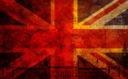 grunge union jack: Westminster Palace Big Ben Union Jack Great Britain Flag with Grunge Texture Background Illustration