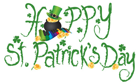 Happy St Patricks Day with Pot of Gold Rainbow Keyboard Shamrock Gold Coins Grunge Ink Brush Text Illustration
