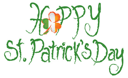 ireland map: Happy St Patricks Day with Shamrock and Ireland Map Grunge Ink Brush Text Illustration