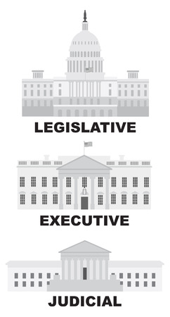 us government: Three Branches of United States Government Legislative Executive Judicial Buildings Grayscale Illustration Illustration