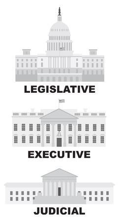 ramificación: Tres Ramas de Estados Unidos Edificios Judiciales Gobierno Legislativo Ejecutivo Ilustración de escala de grises Vectores