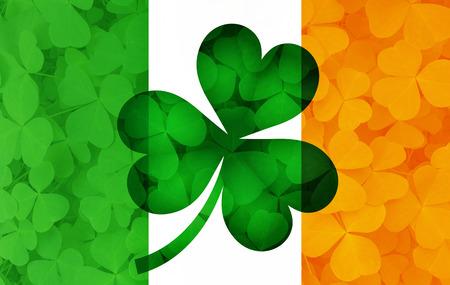 ireland flag: Ireland Flag with Shamrock Leaves Background Illustration