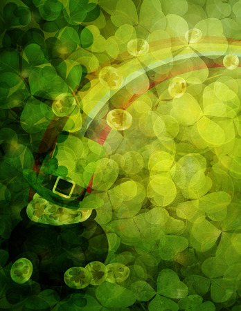 holiday border: St Patricks Day Shamrock Leaves Border and Background with Pot of Gold Coins Leprechaun Hat Rainbow Illustration Stock Photo