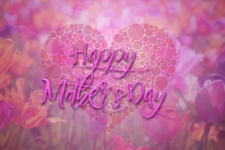 flowers bokeh: Happy Mothers Day with Polka Dot Heart on Tulip Flowers Bokeh Background Illustration