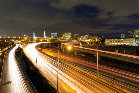 interstate: Interstate Freeway Light Trails and Northeast Portland Skyline at Night