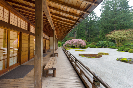 building structure: Pavilion by Flat Garden in Springtime at the Japanese Garden Stock Photo