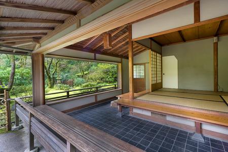 tea house: Kashintei Tea House at Japanese Garden in Spring Season