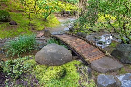 Bamboo Foot Bridge Over Creek in Springtime at Japanese Garden