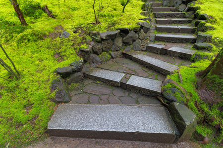 granite park: Granite Stone Steps with green moss covered landscape at Japanese Garden during Spring Season