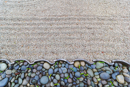 textured backgrounds: Sand Garden with Pebble Stones and Roof Tiles Border at Japanese Garden