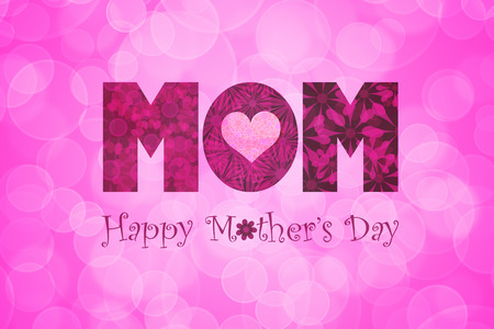 flowers bokeh: Happy Mothers Day Text with Polka Dot Heart on Tulip Flowers Bokeh Background Illustration