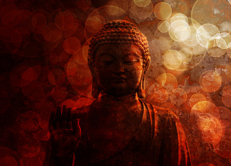 Bronze Zen Buddha Statue Raised Palm with Blurred Textured Red Background