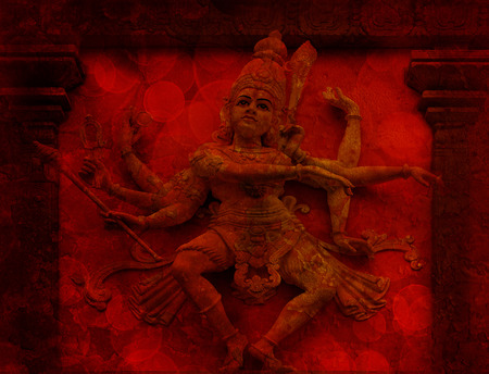 diorama: Nataraj Dancing Form of Lord Shiva Hindu God Statue on Temple Exterior Wall Relief in Red Grunge Texture Background Stock Photo