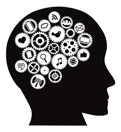 Machine Gears inside human head with Social Media Symbols Black Isolated on White Background Illustration Illustration