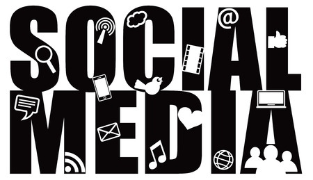 Social Media Text Outline with Symbols Black Isolated on White Background  イラスト・ベクター素材