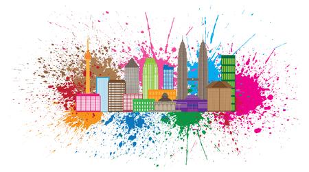 skyline city: Kuala Lumpur Malaysia City Skyline Color Paint Splash Splatter Isolated on White Background Illustration